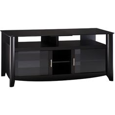 """Bush Aero Collection Classic Black Finish Glass Top TV Stand for TVs up to 60"""""""