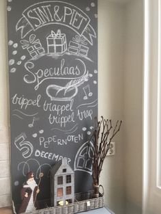 🌟Tante S!fr@ loves this📌🌟Sint & Piet Chalkboard Hand Lettering, Chalkboard Drawings, Chalkboard Signs, Christmas Gift Wrapping, Christmas Gifts, Saints For Kids, December Holidays, Diy Projects To Try, Diy And Crafts