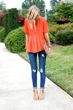 bright orange and skinnies