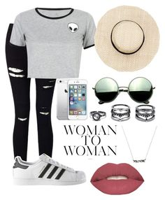 """""""Woman to woman """" by danny0803 ❤ liked on Polyvore featuring Miss Selfridge, WithChic, adidas, Revo, Smashbox and LULUS"""