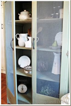 old armoire to kitchen pantry, home decor, painted furniture, rustic furniture, The screened doors really give this old piece a new fresh look