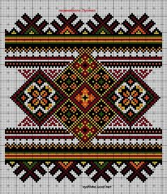 Beading _ Pattern - Motif / Earrings / Band ___ Square Sttich or Bead Loomwork ___ pixels Cross Stitch Geometric, Cross Stitch Borders, Cross Stitch Flowers, Cross Stitch Charts, Cross Stitch Designs, Cross Stitching, Cross Stitch Patterns, Folk Embroidery, Cross Stitch Embroidery