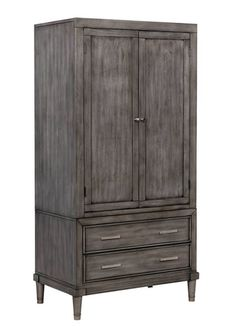 Daphne Transitional Gray Solid Wood Armoire