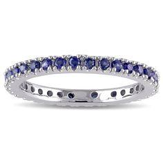 Miadora Sapphire Eternity Ring in 14k White Gold (Size 9.5), Women's, Blue