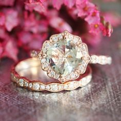 Rose Gold Green Amethyst Diamond Engagement Ring and Scalloped Diamond Wedding Ring Set in 14k Gold Vintage Inspired 8x8mm Gemstone Ring Set by LaMoreDesign on Etsy https://www.etsy.com/listing/244892231/rose-gold-green-amethyst-diamond