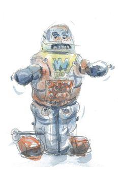 Richard Maris Robot Illustrations  #elds #coolprints #eastlondondesignstore www.eastlondondesignstore.com