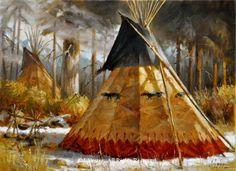 """Big Otter's Lodge"" 12""x16"" framed original oil -Shades of Winter - Recently Sold Original Oils by J. Hester"