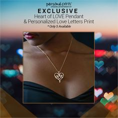 If you really want to WOW that special someone this #ValentinesDay, get her this exclusive Heart of Love Pendant and Personalized Love Letters Print-- only $149.95!  Use code VALENTINE10 for 10% off!