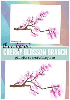 Thumbprint Cherry Blossom Tree Branch - Free Printable - Spring Kid Craft Idea - Paper Art Project for Toddlers - Cherry Blossom Blossoms Paper Art Projects, Spring Art Projects, Toddler Art Projects, Spring Crafts For Kids, Spring Crafts For Preschoolers, Chinese Cherry Blossom, Cherry Blossom Art, Blossom Trees, Tree Branch Crafts