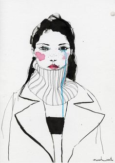 Contemporary ink and watercolour fashion drawing by Conrad Roset. Art And Illustration, Fashion Illustration Face, Fashion Illustrations, Watercolour Illustration, Illustrations Posters, Pen And Watercolor, Watercolor Fashion, Fashion Sketchbook, Fashion Sketches