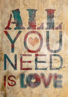Beautiful Typography romantic Poster Print on cotton canvas canvas great and unique fine art wall decor reminder you that : ALL YOU NEED IS LOVE art lovely phrase fantastic words .perfect for a wedding gift or a special day for you sweet person ...you can give it .. you can love it you can framing it
