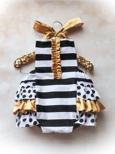 GOLD - Black & White STRIPE - Baby Sunsuit - Ruffle Romper - Ruffle Butt - Polda dot sunsuit