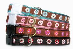 small dog collar  58or 34 wide mod designer flower ribbon pet collar small dog medium dog turquoise pink brown Black boy dog girl dog Handcrafed and made in USA -- Check this awesome product by going to the link at the image.Note:It is affiliate link to Amazon.