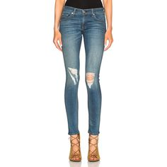 rag & bone/JEAN Skinny ($225) ❤ liked on Polyvore featuring jeans, destructed skinny jeans, ripped blue jeans, ripped skinny jeans, blue skinny jeans and super ripped skinny jeans