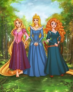 Rapunzel, Aurora and Merida. Commission for Laura Previous works with Disney's characters here: daekazu.deviantart.com/gallery… >>> daekazu.tumblr.com >>> www.facebook.com/...