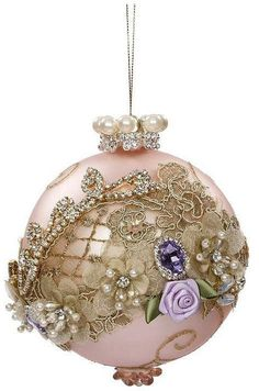 Mark Roberts Floral Jewel Pink Ball Ornament - Inches Happy New Year Shabby Chic Christmas Ornaments, Pink Christmas Tree, Handmade Christmas Decorations, Elegant Christmas, Christmas Baubles, Christmas Crafts, Homemade Decorations, Christmas Presents, Xmas