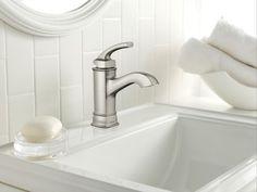 Hensley spot resist brushed nickel microban one-handle high arc bathroom faucet - WS84414MSRN - Moen