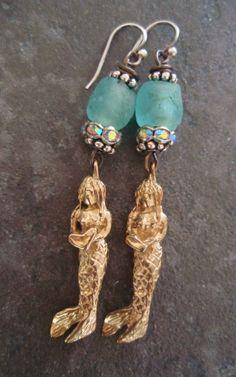 Mermaid earrings  Sea Maidens  blue green beach by slashKnots, $60.00