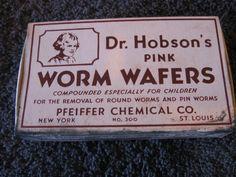 Ew! Dr Hobson's Pink Worm Wafers 1931 Full Box Vintage CL17 17 | vintage medicine label #quackMedicine