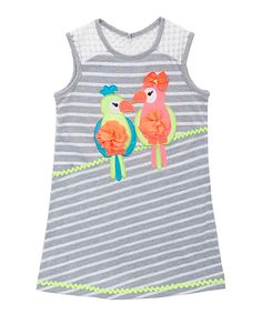 Look at this Gray & White Stripe Parrot Dress - Toddler & Girls on #zulily today!
