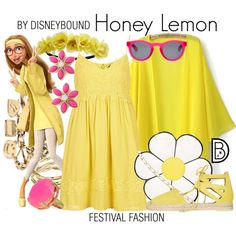 #disney #disneybound #fashion #bighero6 #festivalfashion Honey Lemon by leslieakay on Polyvore featuring Topshop, Aquazzura, Nila Anthony, Moschino, Alicia Marilyn Designs, Kate Spade, Charlotte Russe, disney, disneybound and disneycharacter