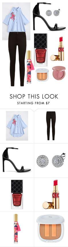 """Sans titre #6093"" by merveille67120 ❤ liked on Polyvore featuring Maje, Stuart Weitzman, Gucci, Yves Saint Laurent, Victoria's Secret and tarte"