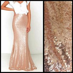 Rose Gold Sequin Maxi Skirt ($75) ❤ liked on Polyvore featuring skirts, silver, women's clothing, long stretchy skirts, sequin skirts, long stretch skirt, maxi skirts and stretchy maxi skirt