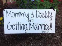 Mommy & Daddy are Getting Married -  Save the Date, Here comes the bride - One sided -  Wedding Sign, Flower Girl Sign, Ring Bearer, on Etsy, $38.01 AUD