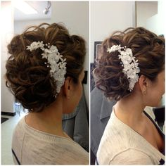 Wedding hair, updo, hair accessories, loose curls