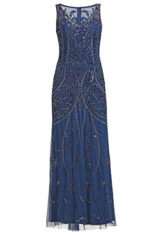 1920s gown, Great Gatsby inspired dress. Adrianna Papell Occasion wear deep blue £300.00 AT vintagedancer.com