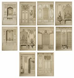 """A collection of ten antique, 18th century French architecture & Interior design engravings. The etchings are from designs by Nicolas & Dominique Pineau and most likely Monsieur Chamblin; the architects to the Louis XV and the French court. These engravings were like the """"Elle Decor"""" & """"House Beautiful"""" of the 18th century and were a way of communicating the architecture & Interiors de rigour. This set illustrates bedroom niches, furniture, fabrics, cabinets & mirrors."""