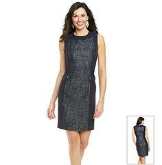 Calvin Klein Sleeveless Crewneck Tweed Inset Sheath Dress