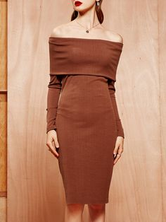 #AdoreWe #StyleWe MASKED QUEEN Brown Bodycon Cotton-blend Off Shoulder Long Sleeve Midi Dress - AdoreWe.com