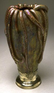 °Vase with snakes (ca. 1900) by Keller and Guerin Factory via @ChansLau