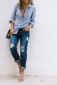 Lässiger Look mit Destroyed Jeans