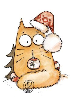 Cute Pookie Cat's World & Fairies World by Maria van Bruggen.|CutPaste Studio| Art, Artist, Artwork, Entertainment, Beautiful, Creativity, Illustration, Pookie Cat, watercolors.