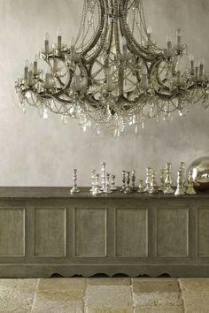 Pure, unbridled, opulently gorgeous chandelier heaven. #home #decor #upscale #posh #vintage #silver #grey #chandelier #lighting