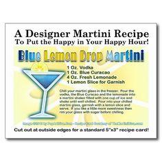 Blue Lemon Drop Martini Recipe Postcard