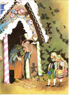 Fairy Tale Print - Hansel Gretel - Vintage Print - Children's Book Plate, Print…