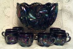 L.E. Smith Glass Aztec Amethyst Punch Set in Excellent Condition from yellowcat on Ruby Lane