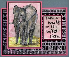 Elephant Sunrise card by Helen Conolly using Darkroom Door Wild Africa Vol 3 Rubber Stamp Set