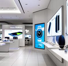 Samsung store at Sherway Gardens by Cutler, Toronto – Canada Showroom Design, Shop Interior Design, Interior Ideas, Electronics Projects, Electronics Storage, Visual Merchandising, Samsung Store, Innovation Centre, Electronic Shop