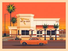 In-N-Out Phoenix by George Townley #dribbble #design #illustration #digitalillustration #InNOut #losangeles Los Angeles Homes, Downtown Los Angeles, Art And Illustration, Miyazaki Spirited Away, Grave Of The Fireflies, Adams Homes, Inn N Out, Phoenix Design, The Royal Tenenbaums