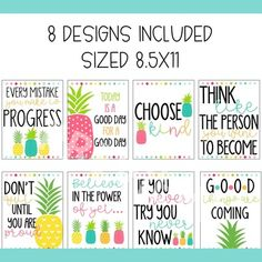 Bright Pineapple Growth Mindset Posters by Ashley McKenzie Classroom Welcome Boards, Birthday Bulletin Boards, Classroom Posters, Classroom Themes, Classroom Organization, Growth Mindset Classroom, Growth Mindset Posters, Library Themes, First Grade Classroom