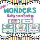 """This *freebie* packet of headings was designed to be the """"anchor"""" pieces of your first grade bulletin board for the McGraw-Hill Wonders Weekly Focu. Heading Design, Wonders Reading Series, Mcgraw Hill Wonders, Reading Boards, First Grade Reading, Comprehension Strategies, Reading Workshop, Kindergarten Reading, Bulletin Board"""
