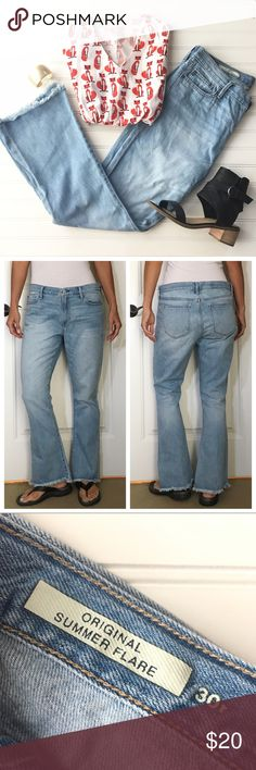 "Gap Original Summer Flares 30 Gap Original Summer Flares | size 30; 100% cotton  Light wash jean in relaxed fit with frayed flare hem | 5-pocket styling; zip fly; mid-rise | a fabulous casual denim that looks cute with sneakers or sandals!  EUC, no flaws  17"" waist 20.5"" hips 10"" rise 30"" inseam    #gap #gapstyle #denim #gapdenim #shopsmall #shopmystyle #shopmywardrobe #summerfashion #fashion #forsale #shopmycloset #clothingforsale #thelookforless #shopwardrobewednesday GAP Jeans"