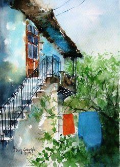 Orijinal Suluboya Resim Bozdoğan-Aydın Zet.com'da #watercolor #suluboya #cityscane