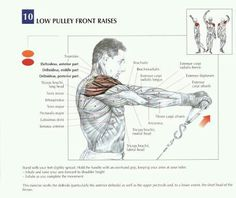 Low pulley front raises - shoulder exercise
