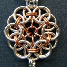 Celtic Mandala chainmail handbag charm with wire wrapped red glass drop bead