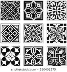 Vintage Ornamental Patterns in Black and White., Vintage Ornamental Patterns in Black and White. Vintage Ornamental Patterns in Black and White. Sgraffito, Ornaments Design, Vintage Ornaments, Stencil Art, Stencil Designs, Floral Vintage, Celtic Designs, Tile Art, Tiles